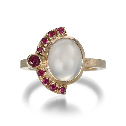 White Moonstone and Ruby 14K Gold Ring