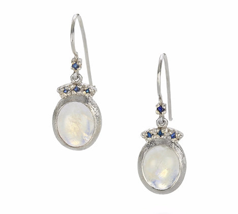 Oval Rainbow Moonstone and Blue Sapphire Sterling Silver Earrings