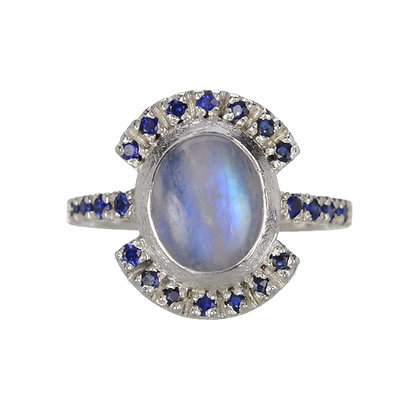 Rainbow Moonstone and Blue Sapphire Sterling Silver Ring