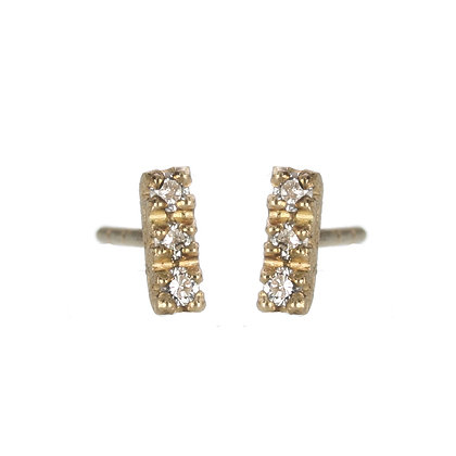 Diamond and 14K Gold 3-Stone Stud Earrings