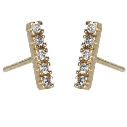 Diamond and 14K Gold 5-Stone Stud Earrings