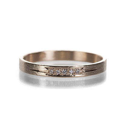 14k yellow gold 5 diamond band