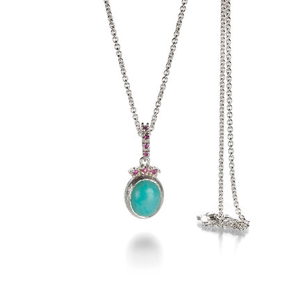 Amazonite and Ruby Silver Pendant
