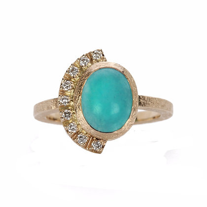 Amazonite and Diamond 14K Gold Ring