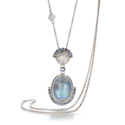 Double Rainbow Moonstone and Blue Sapphire Sterling Silver Long Necklace