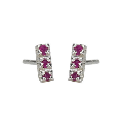 Ruby and Sterling Silver 3-Stone Stud Earrings