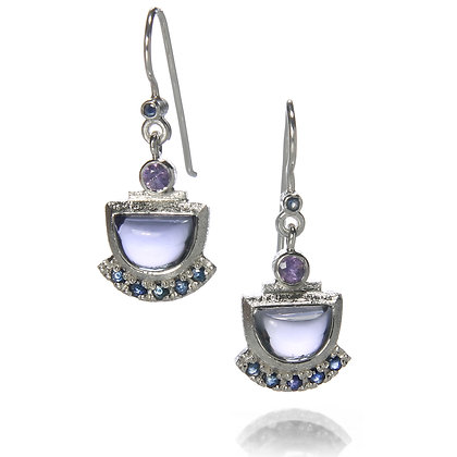 Iolite and Sapphire Earrings