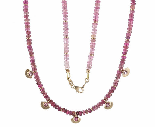 Pink Tourmaline and Diamond 14K Gold Beaded Necklace