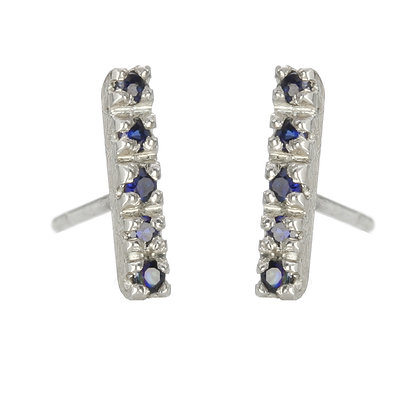 Blue Sapphire and Sterling Silver 5-Stone Stud Earrings