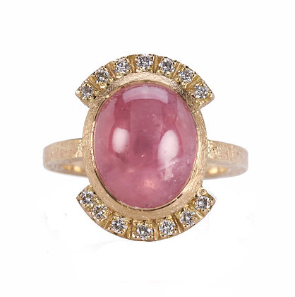 Star Sapphire and Diamond 14K Gold Ring