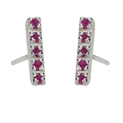 Ruby and Sterling Silver 5-Stone Stud Earrings