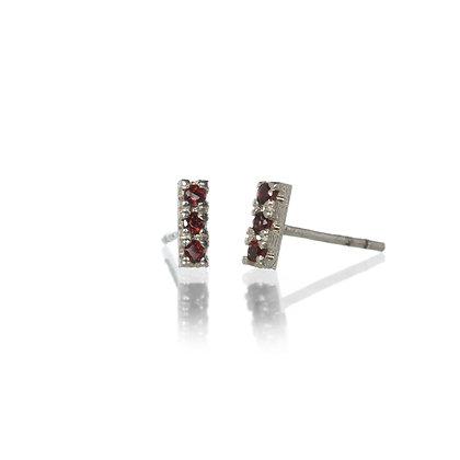 Garnet and Sterling Silver 3-Stone Stud Earrings
