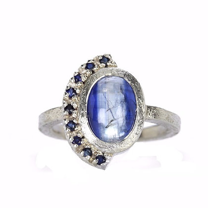Bi-Color Kyanite and Blue Sapphire Sterling Silver Ring