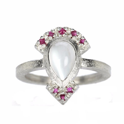 White Moonstone and Ruby Sterling Silver Ring