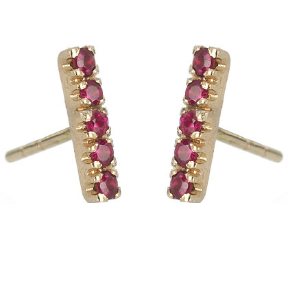 Ruby and 14K Gold 5-Stone Stud Earrings