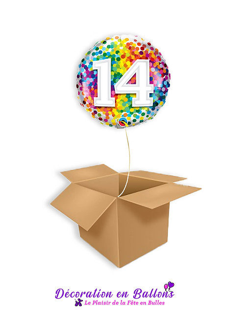 Ballon chiffre 14 confetti