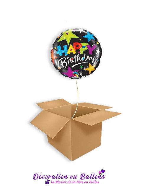 "1 Ballon "" Happy birthday start black """