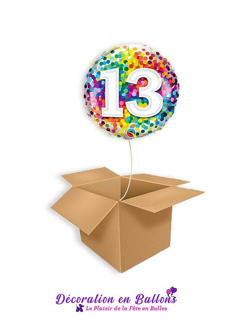 Ballon chiffre 13 confetti