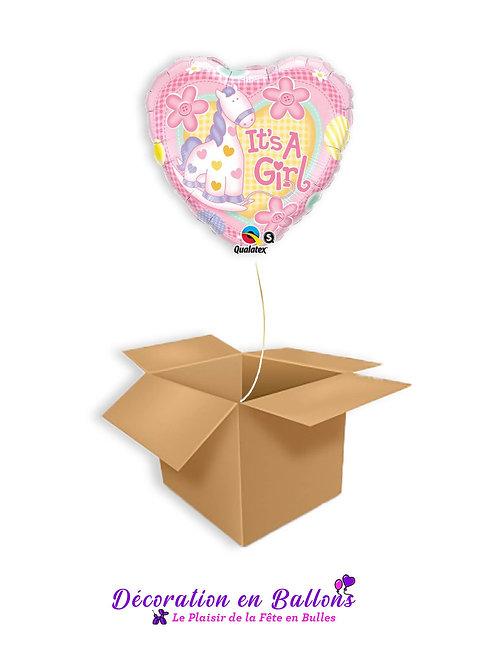 """Ballon coeur """" It's a girl"""""""