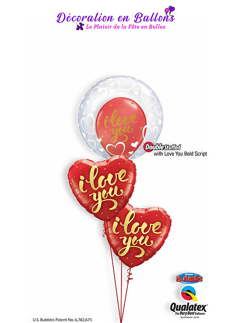 "Bouquet 4 Ballons "" I love you """