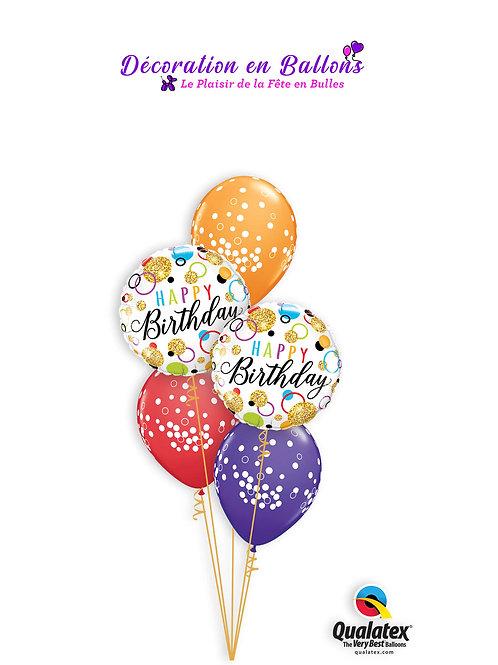Bouquet Happy Birthday Glitter Dots