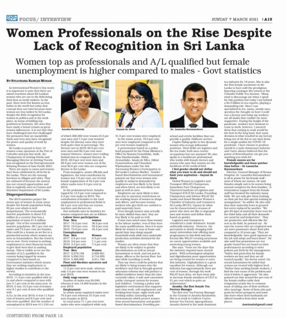 Women Professionals on the Rise Despite Lack of Recognition in Sri Lanka