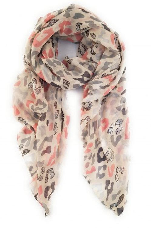 Dusky pink/Grey Leopard print scarf