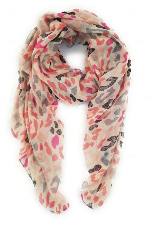 Vivid pink/Grey Leopard print scarf