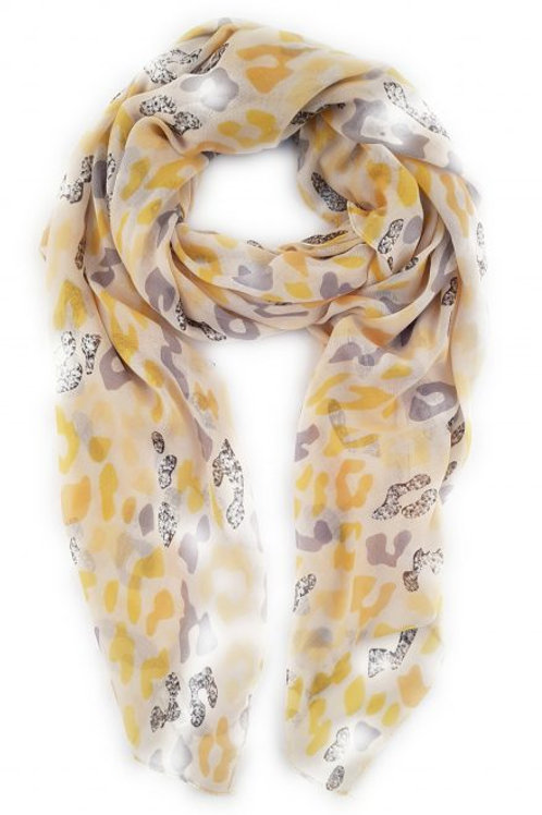 Yellow/Grey Leopard print scarf