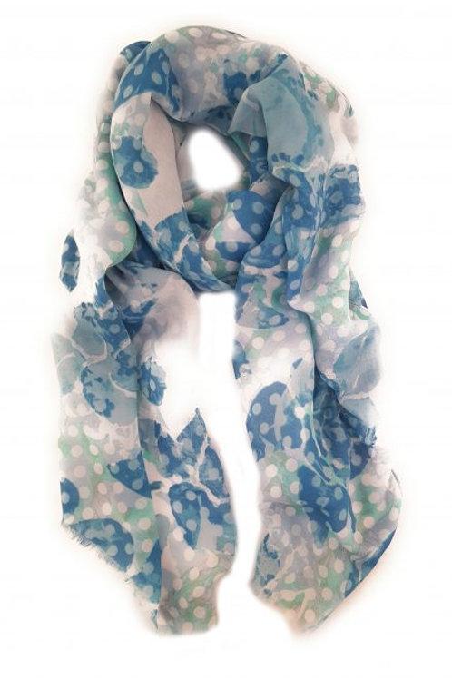 Spotty blue floral print scarf