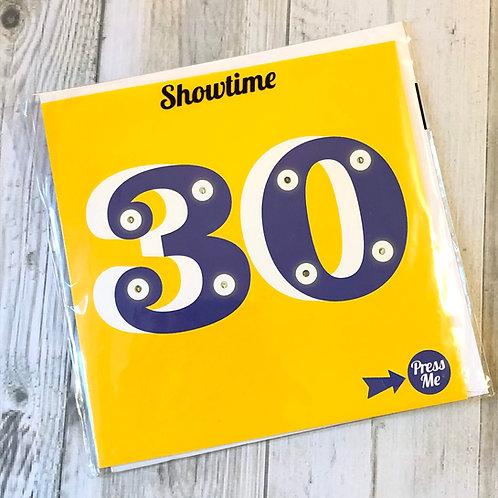 30th birthday light up card
