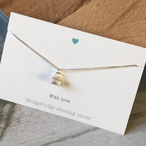 Sterling silver hedgehog necklace
