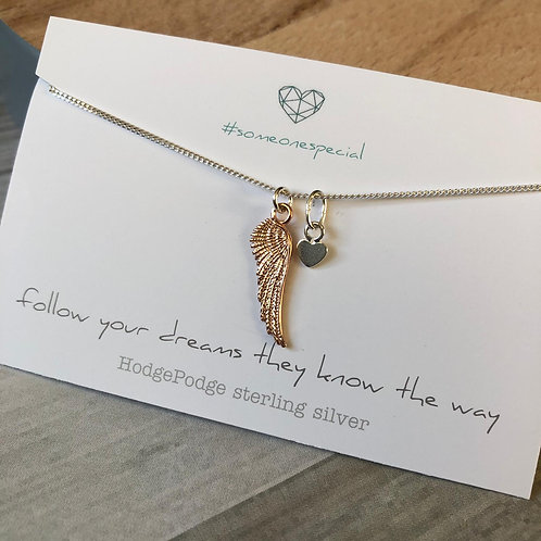 Sterling silver angel wing & heart necklace
