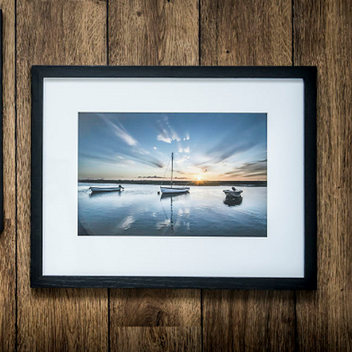 Three Boats framed Fine Art Giclee Print