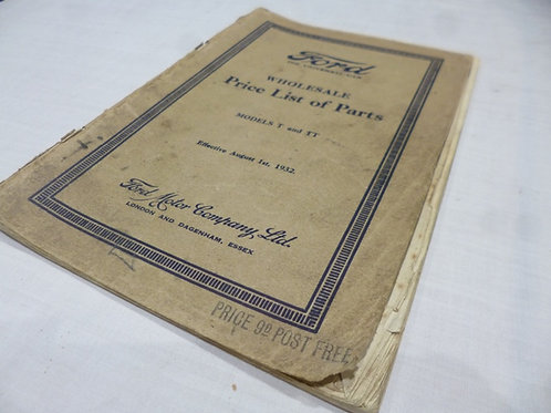 FORD PARTS LIST 1932