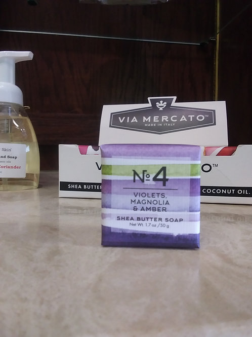 Via Mercato Italian Mini Soaps-Violets, Magnolia & Amber. No.4