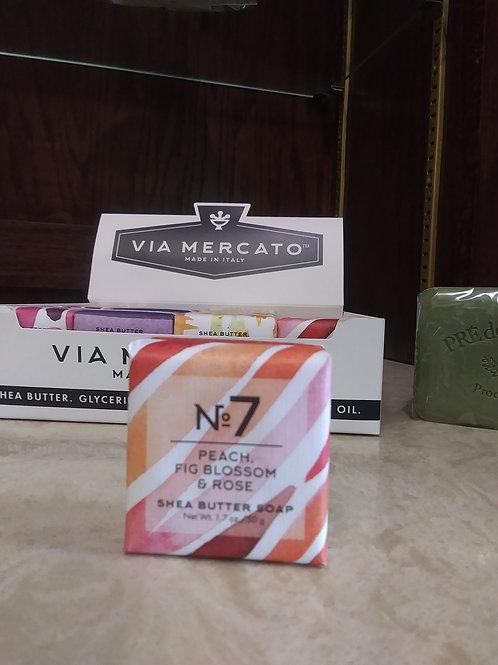Via Mercato Italian Mini Soaps- Peach, Fig Blossom, & Rose. No.7