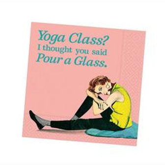 """Yoga Class? I though You Said Pour A Glass"" Cocktail Napkins- 20 Count"