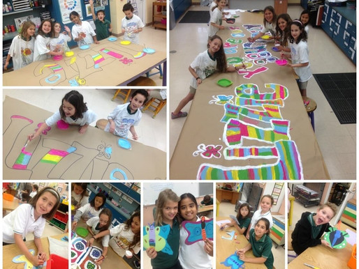 Students create banners and butterflies in preparation for Lizzie's visit