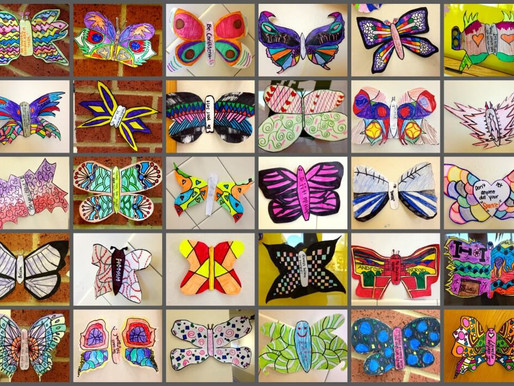 Beautiful, unique butterflies made by the students at Pioneer Heritage MS