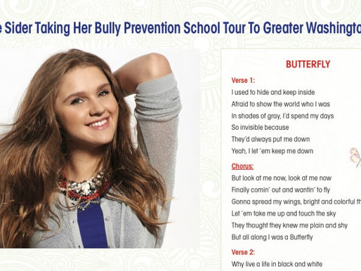 Lizzie Sider Taking Her Bully Prevention School Tour to Greater Washington DC