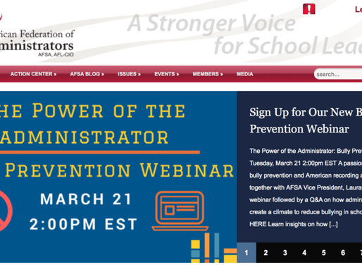 WEBINAR – THE POWER OF THE ADMINISTRATOR: BULLY PREVENTION by Lizzie Sider – March 21, 2017