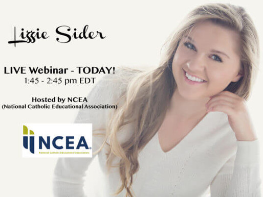 Watch Lizzie's LIVE Bully Prevention Webinar TODAY, 1:45-2:45pm EDT (NCEA)