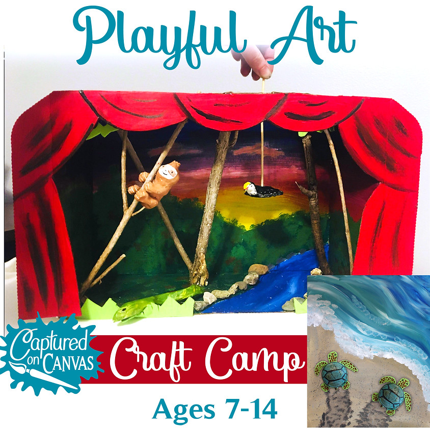 Kinetic Art Puppet/Shadow Box & Turtle Painting - Craft Camp