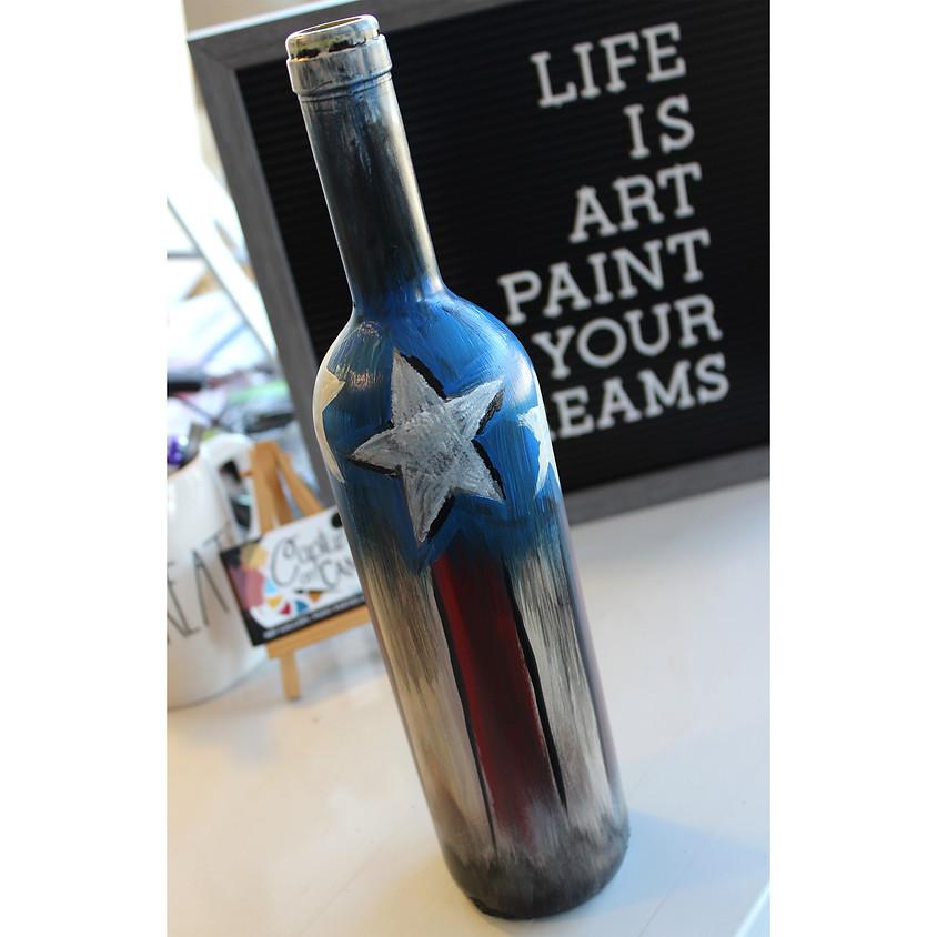 Fire Cracker Flag - Wine Bottle