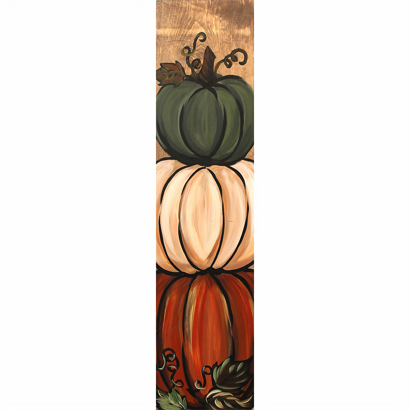 Stacked Pumpkins - on a board
