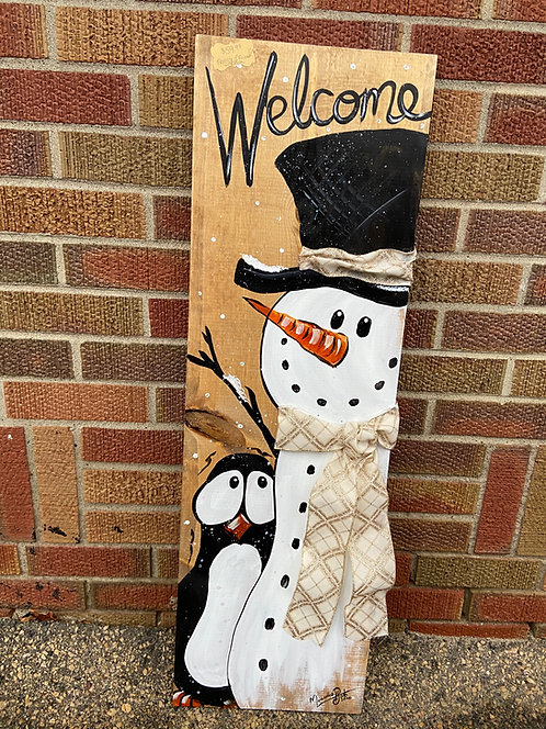 Frosty & Friend Porch Sign with Ribbon