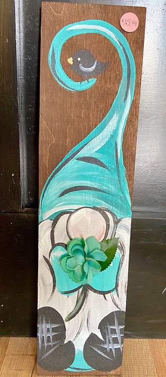 Teal Gnome with Flower