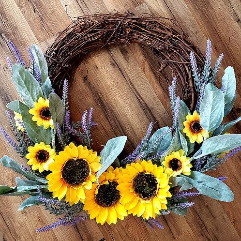 Sunflower Lilac Grapevine Wreath