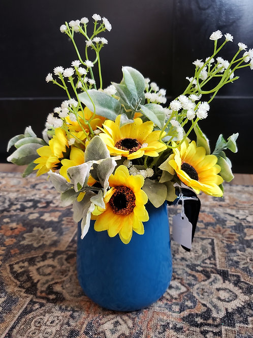 Sunflowers in a Blue Pitcher